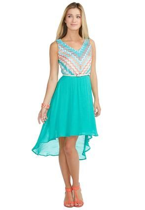 016b76298c4 Maybe i could wear this to my friends wedding! Hmm choices choices......Cato  Fashions Chevron High-Low Belted Dress  CatoFashions