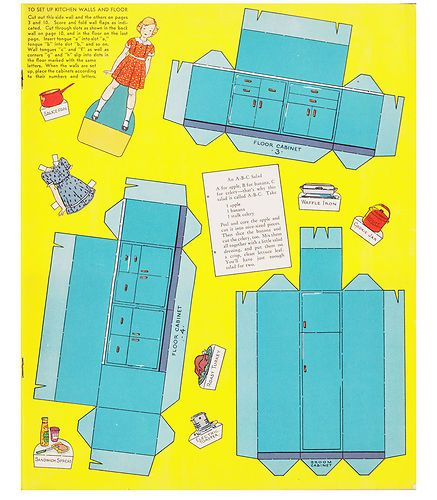 """Details About VINTAGE~1938~""""KITCHEN PLAY WITH CUTOUT DOLLS"""