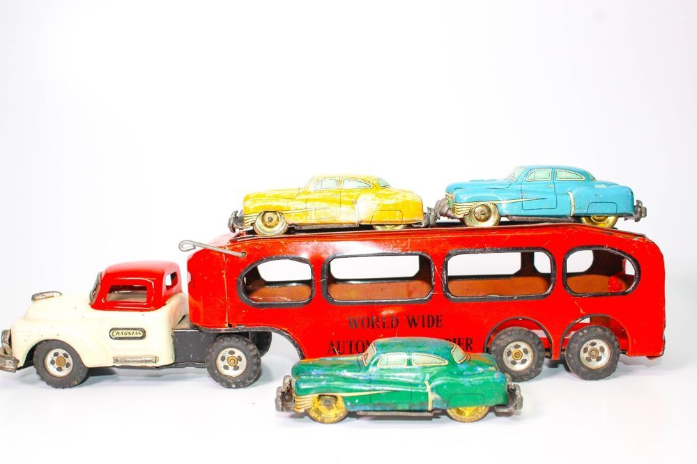 VINTAGE JAPANESE CRAGSTAN WORLD WIDE AUTO CARRIER W/ 3 cars ...