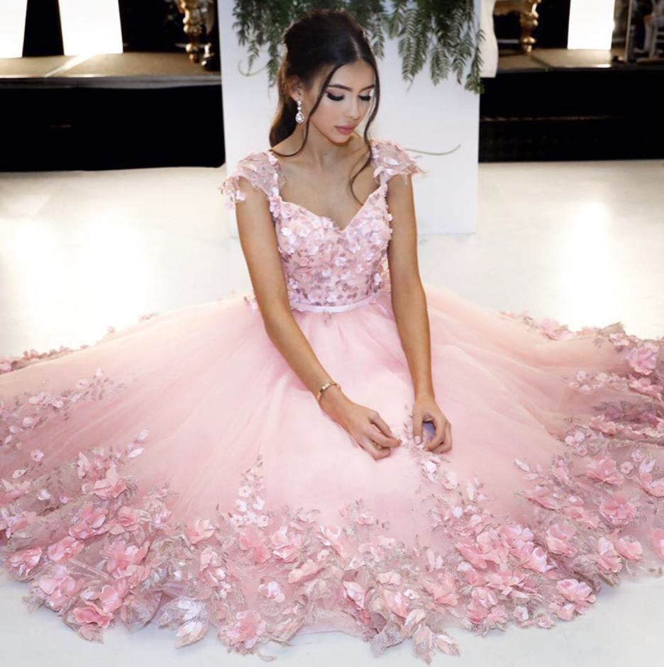 Cheap prom dresses Pink Ball Gowns,Flower Dress,Cap Sleeves ...
