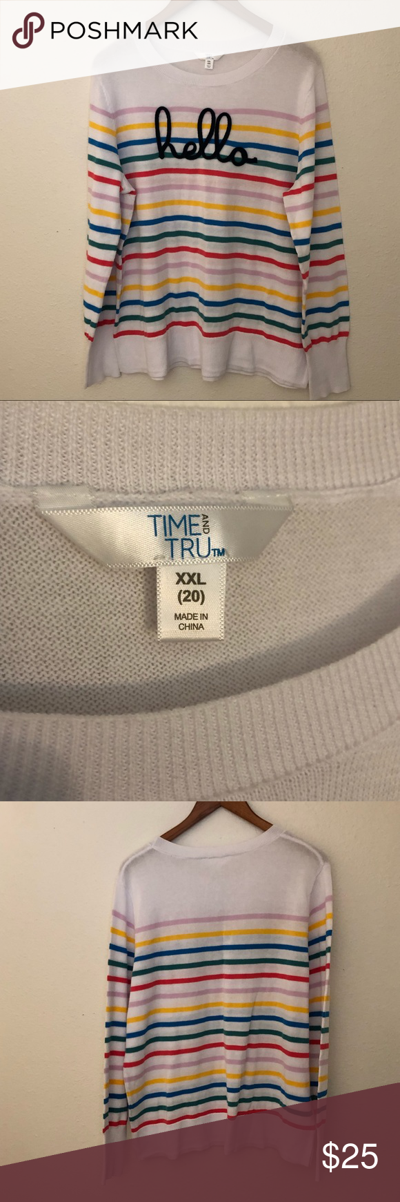 Time & Tru Hello Striped Sweater XL White NWOT Time & Tru Hello Sweater Spring '19 blogger fave XXL New without tags White w/ stripes Time and Tru Sweaters Crew & Scoop Necks #wfaves Time & Tru Hello Striped Sweater XL White NWOT Time & Tru Hello Sweater Spring '19 blogger fave XXL New without tags White w/ stripes Time and Tru Sweaters Crew & Scoop Necks #wfaves