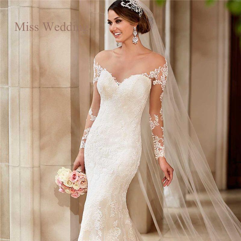 Sweetheart White Ivory Mermaid Wedding Dresses Long Sleeve Backless Bridal Gown