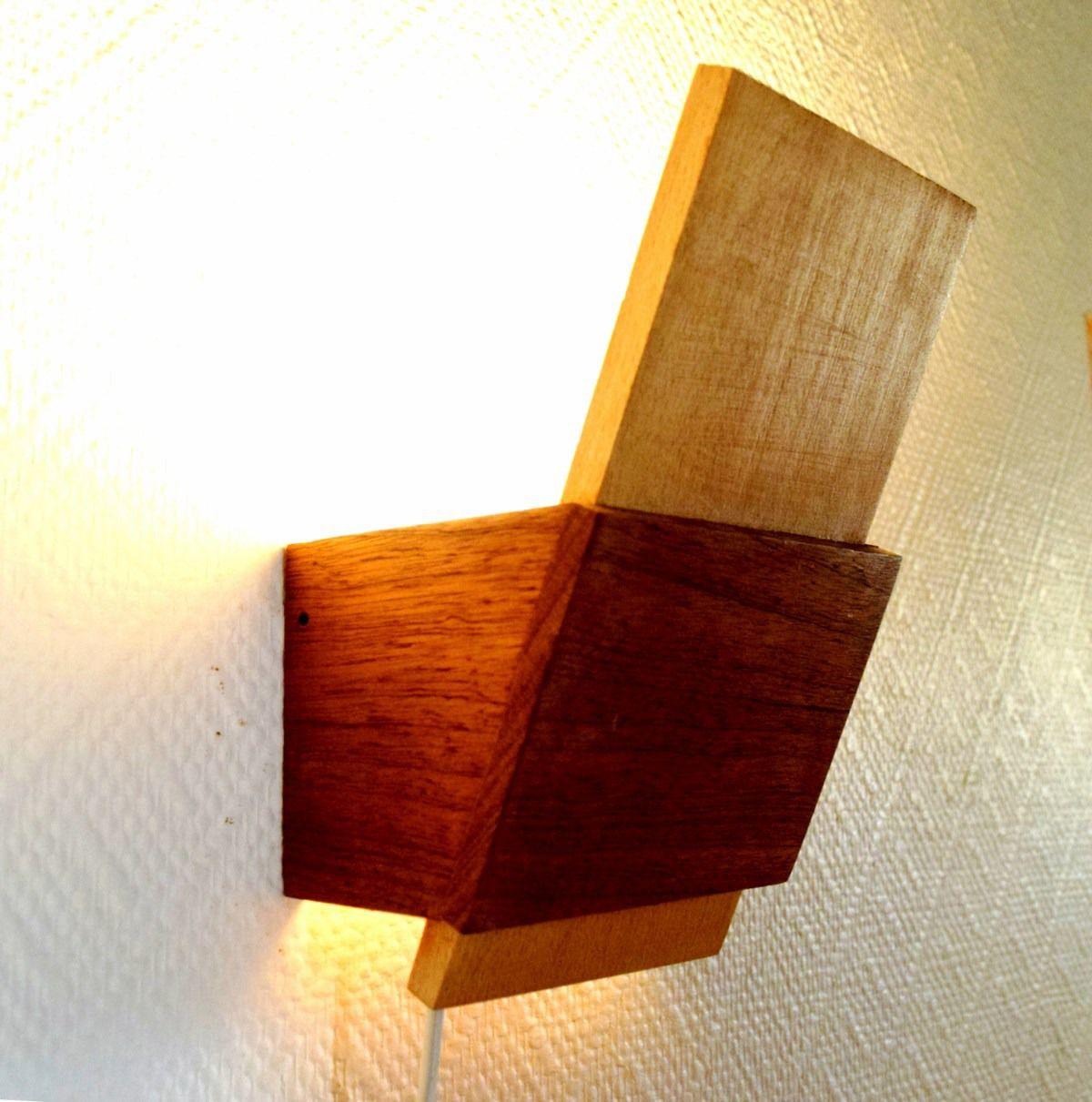 applique design en bois massif Hêtre et Sipo éclairage par lampe led 450 lumens Luminaires