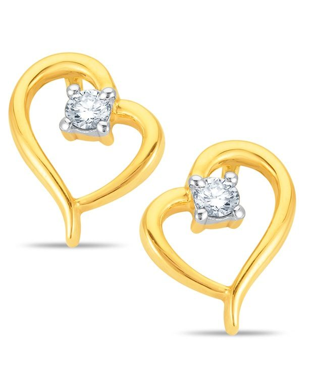 18kt Yellow gold heart shape earrings with 2pcs of 0.11cts #diamonds