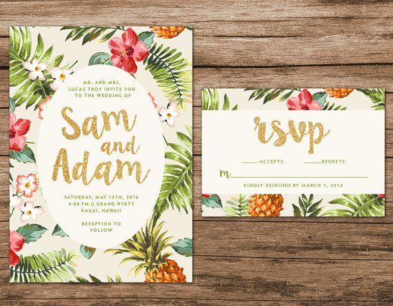 Tropical Wedding Invitation Destination Wedding Invitation