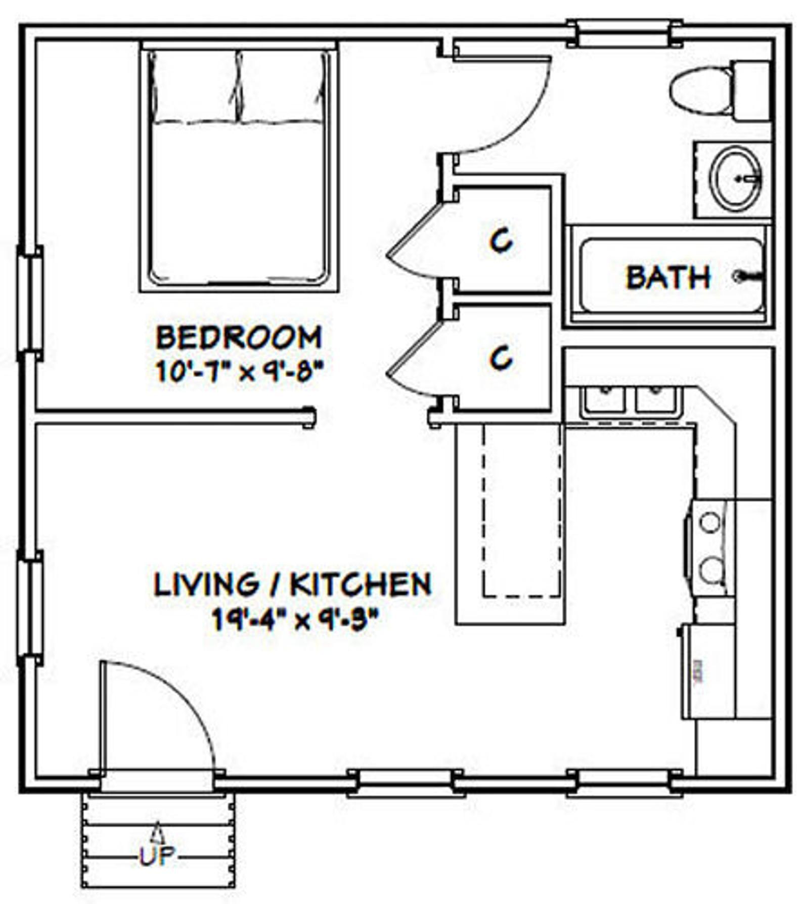 20x20 Tiny House -- 1-Bedroom 1-Bath -- 400 sq ft -- PDF ...