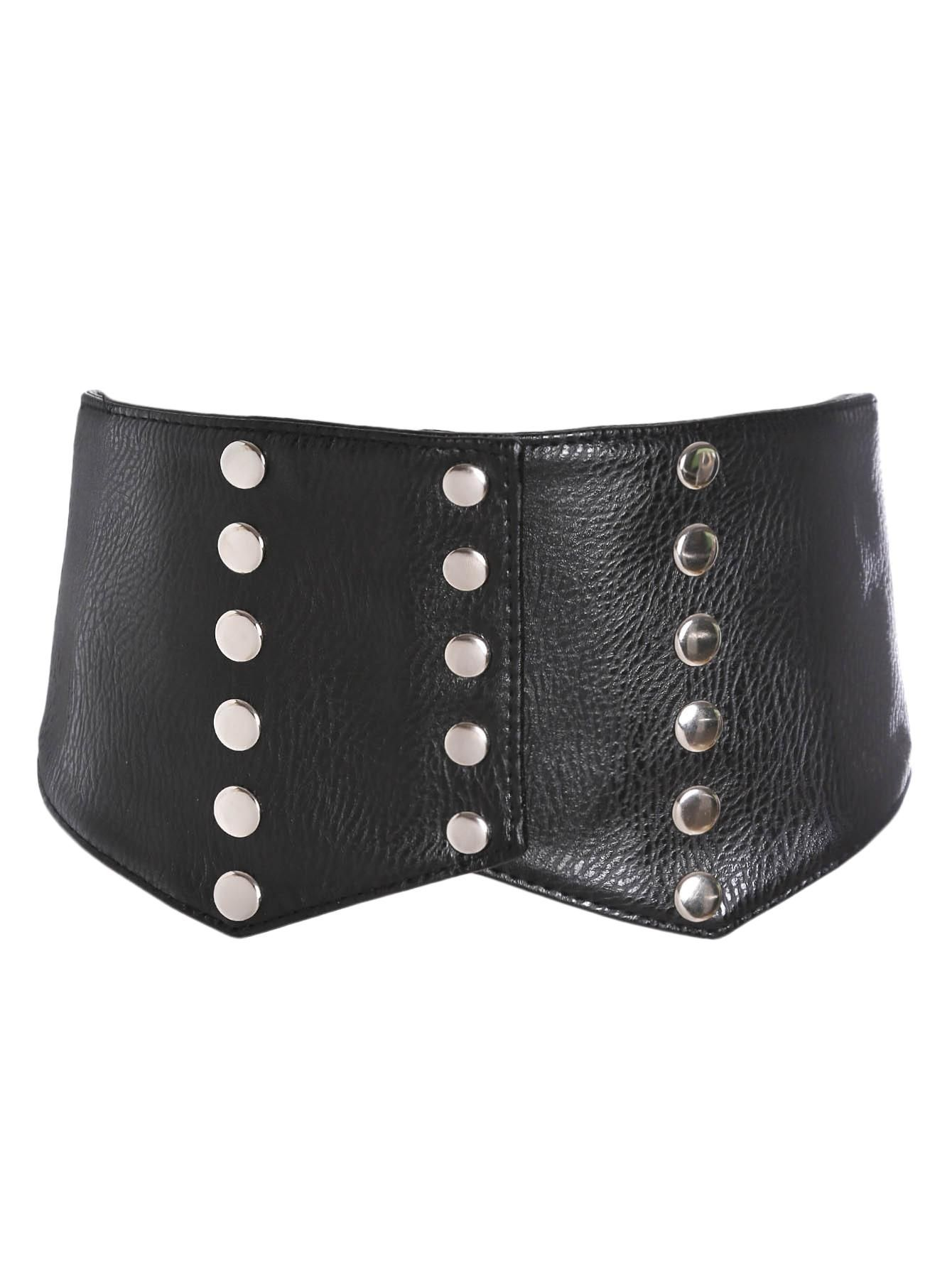 MakeMeChic - MAKEMECHIC Studded Design Croset Belt - AdoreWe.com