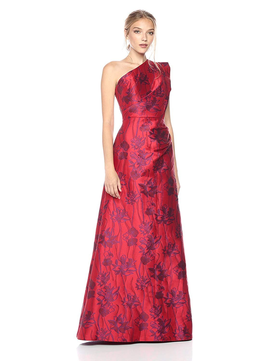 292dbfc4959 ML Monique Lhuillier Women s One Shoulder Floral Gown one shoulder sexy hot  red dress for her