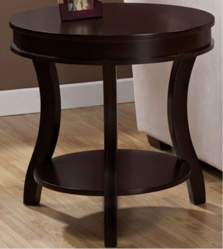 Contemporary Round End Table Wooden Living Room Furniture Espresso Finish Sturdy End Tables Sofa End Tables Round Black Coffee Table