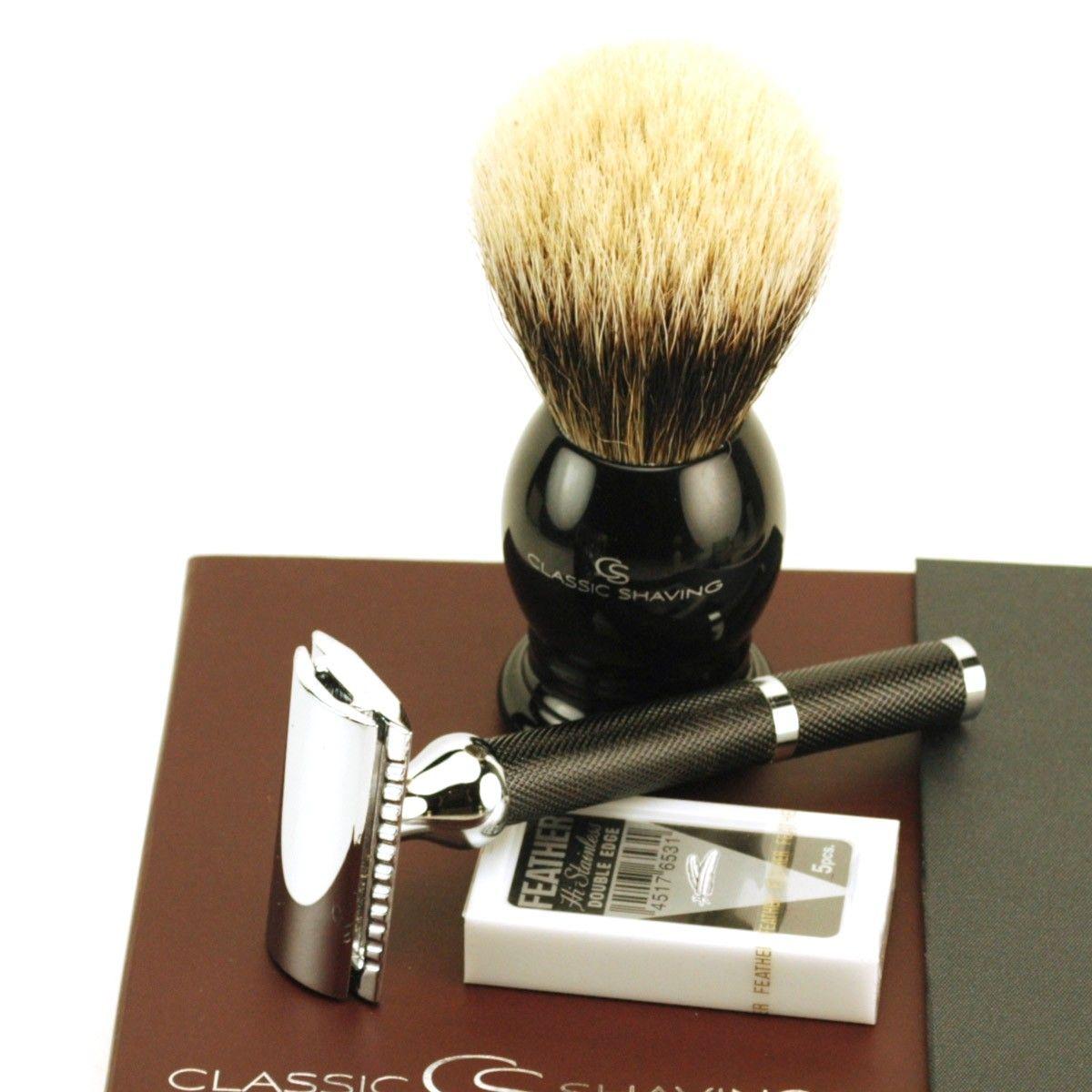 Classic Deluxe Gift Box DE Safety Razor Brush & Blades