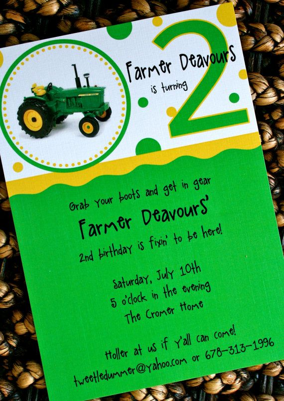 John Deere Tractor Party Invitationlove The Simplicity