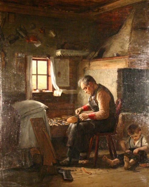 The Cobbler And His Apprentice  (Adolf von Becker 1831–1909)