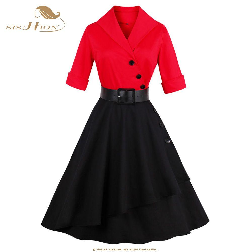 Günstige SISHION Elegant Patchwork Party Dress Women Autumn Black ...