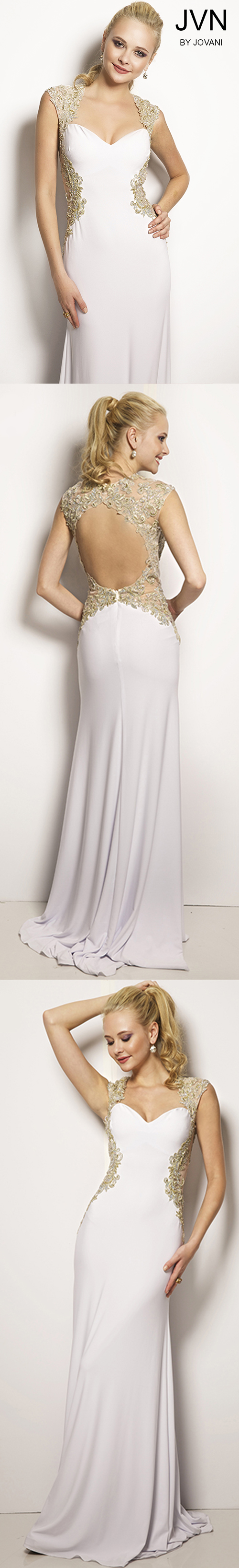 Sleeveless fitted long white prom dress by jovani senior
