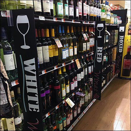 Wine Multi Variety Category Management Fixtures Close Up Wine Retail Signage Liquor Store