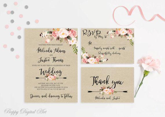 Rustic Wedding Invitation Printable Wedding Invitations Floral Suite