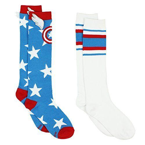 6d58e2bcefe Captain America Superhero Womens Novelty Costume 2 pack Knee High Socks