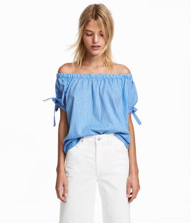 1947bab85b39e Off-the-shoulder top - Light blue White striped - Ladies