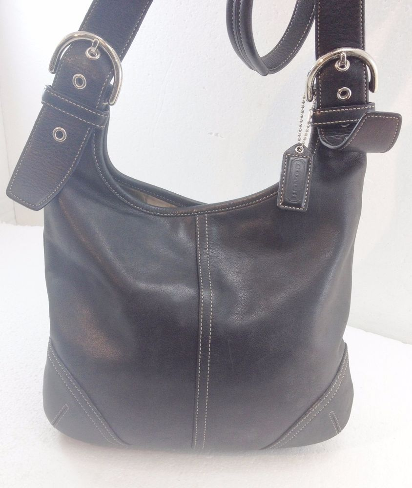Coach Black Leather Cross Body Hobo Shoulder Bag Handbag