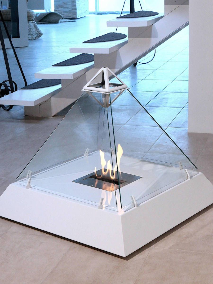 Ethanol Standkamin Design Fireplace Shaped Like The Louvre Pyramid In 2019