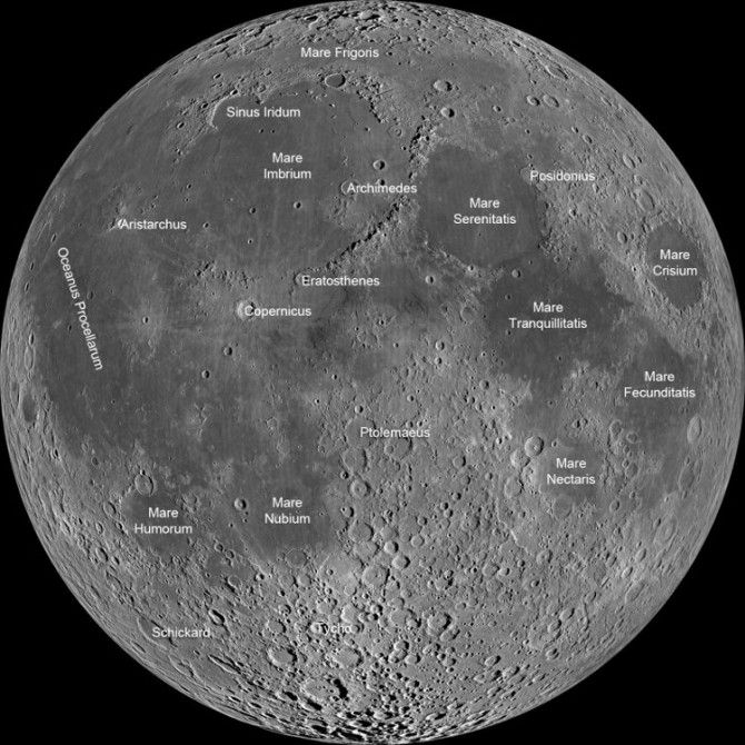 Lunar map showing the major features of the Moon's surface (Photo: NASA)  DISCUSS VOCAB WORD: MARIAS...