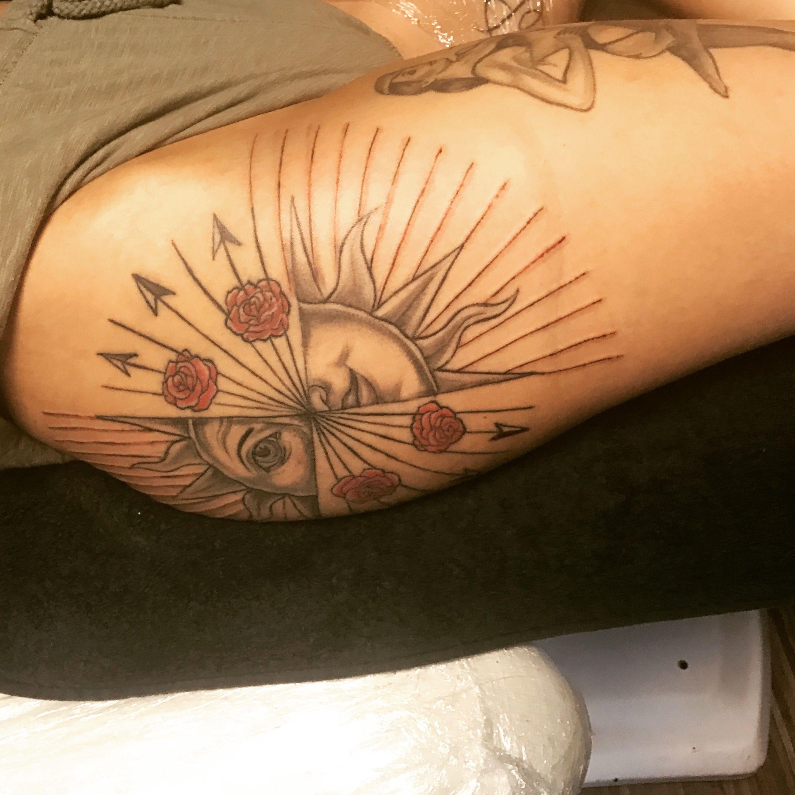 Sun tattoo egypt roses by fitkoska tattoo pinterest