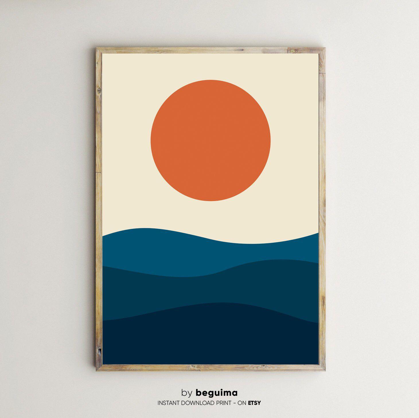 Sunset Sunrise Geometric Landscape Sea Prints Printable Wall Art Ocean Print Large Poster Home Decor Waves Graphic Design Digital Download Abstracte Tekeningen Kunst Ideeen Zeefdruk