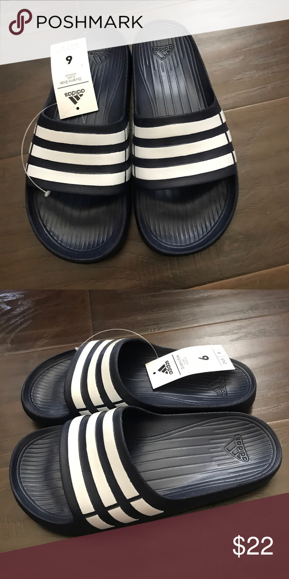 a6b4abe69ec0 Brand new duramo slides size 6 UK 8 US women s Brand new duramo slides size  6 UK 8 US women s. Color blue adidas Shoes Slippers