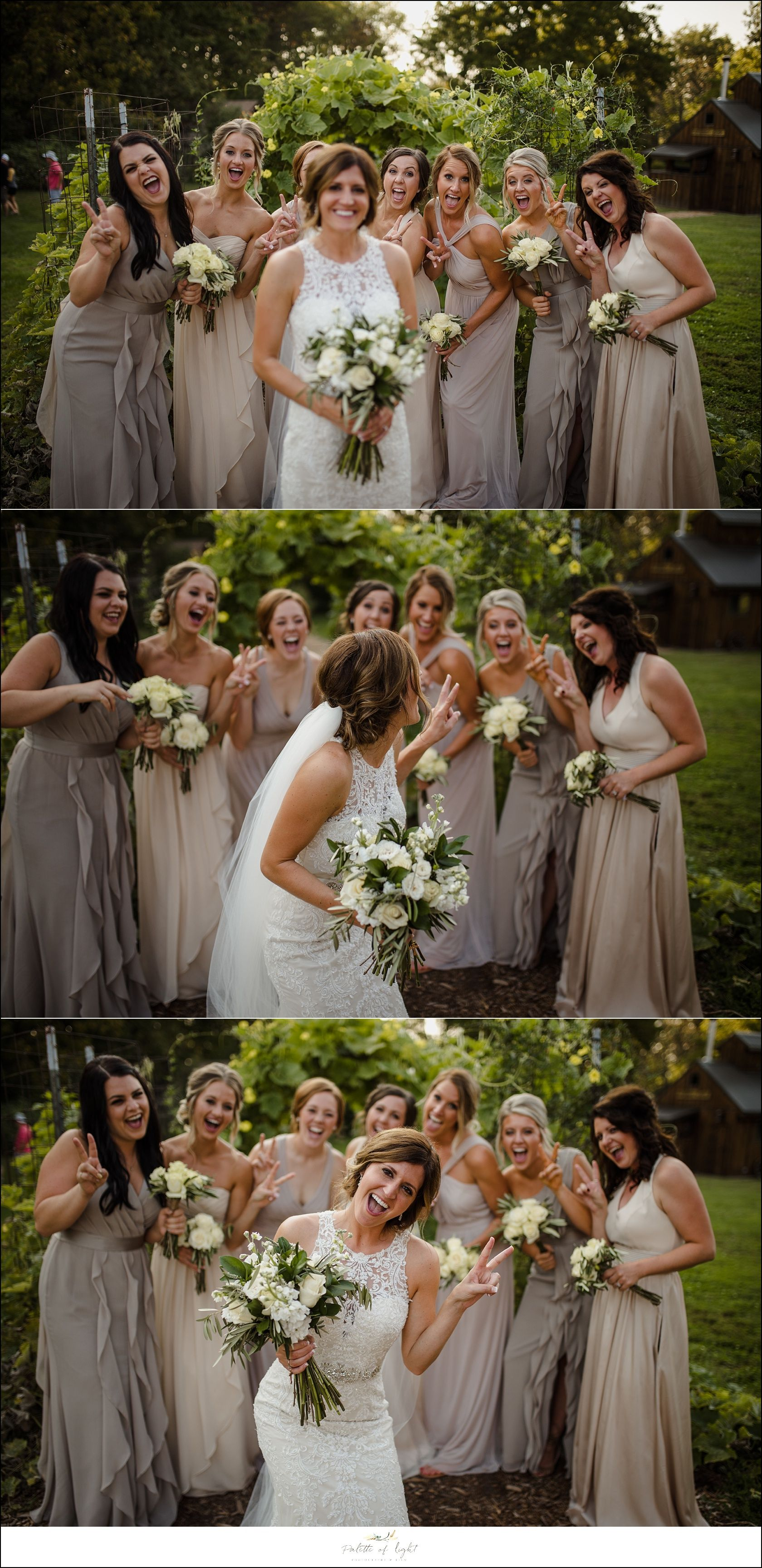 Rustic farm wedding on family property dj sound wedding and bridesmaids dresses taupe and cream ombrellifo Image collections