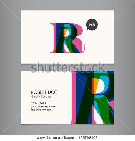 Business card template, letter R   цвет   Pinterest