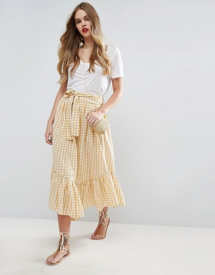 1a08df5adb85 Shop for Midi Skirt in Gingham with Asymmetric Hem and Tie Waist by Asos at  ShopStyle