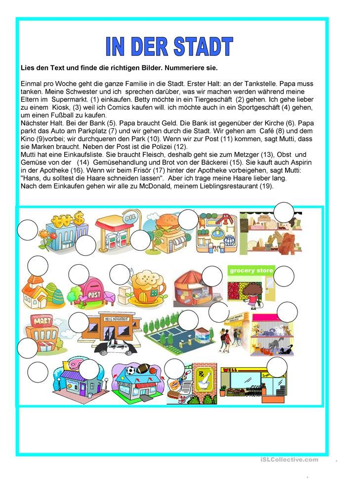 In der Stadt | adjektive | Pinterest | Worksheets and Kindergarten
