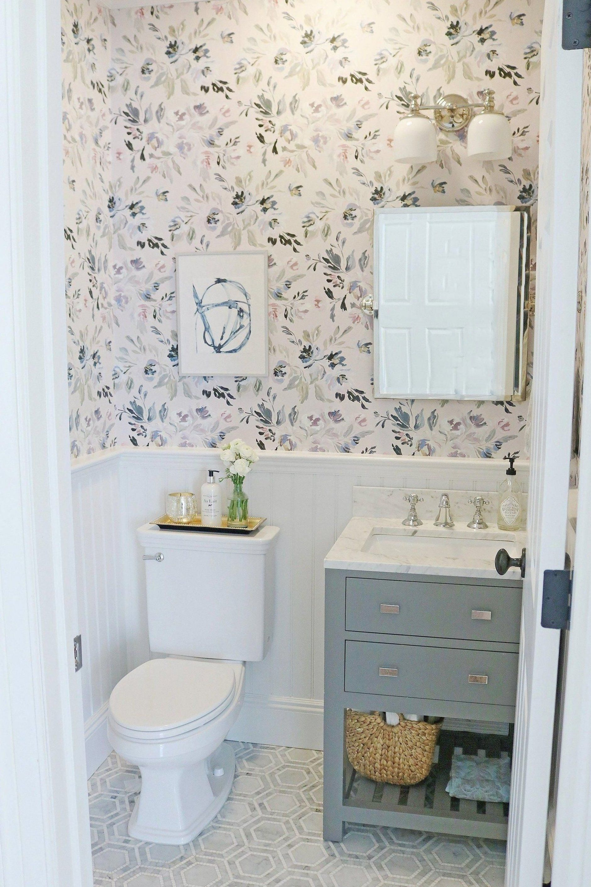 I am so excited to reveal our Powder Bathroom Makeover The before