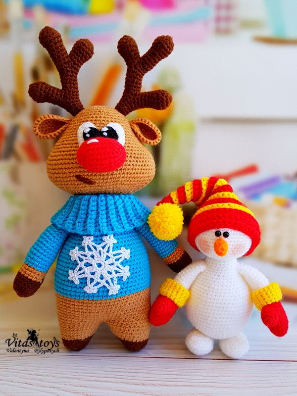 Crochet toy Christmas moose PDF, crochet toy snowman pattern PDF #amigurumi #crochetdoll