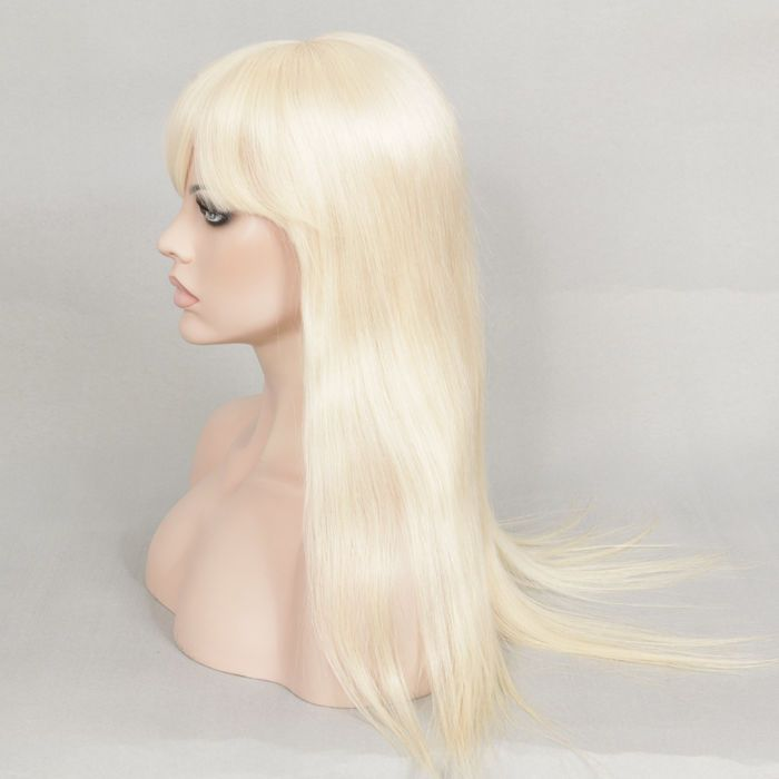"""Stock European White Color Straight Human Hair Wig 20"""" with Silk Top with Bangs #ValmurrWigsWeftsandMore #FullWig"""