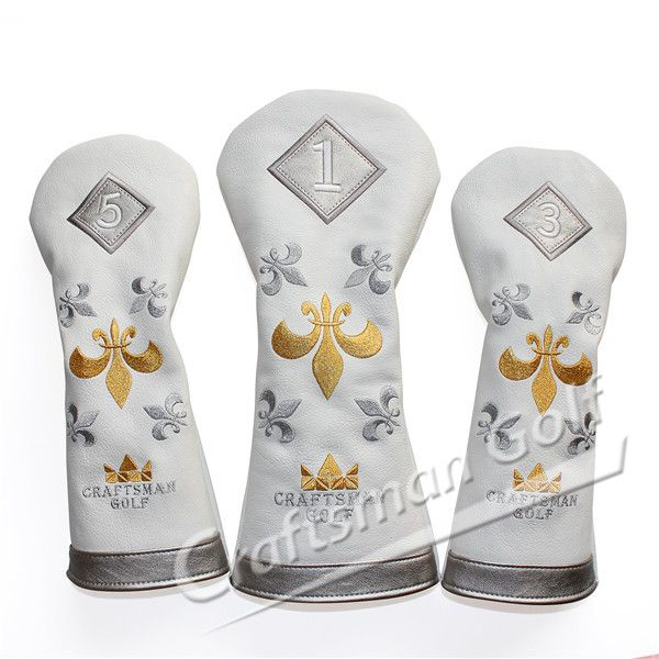 2015 New Gold & Sliver Fleur De Lis Embroidery Leather Wood Golf Club Head  Cover Set