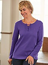 """What are our customers saying about our Pointelle Tie Top from Blair? """"Great tee at a great price."""" ~ WA, USA"""