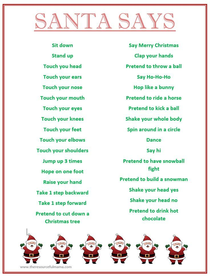 Santa Says Game for Christmas Parties {FREE PRINTABLE | Holiday ...
