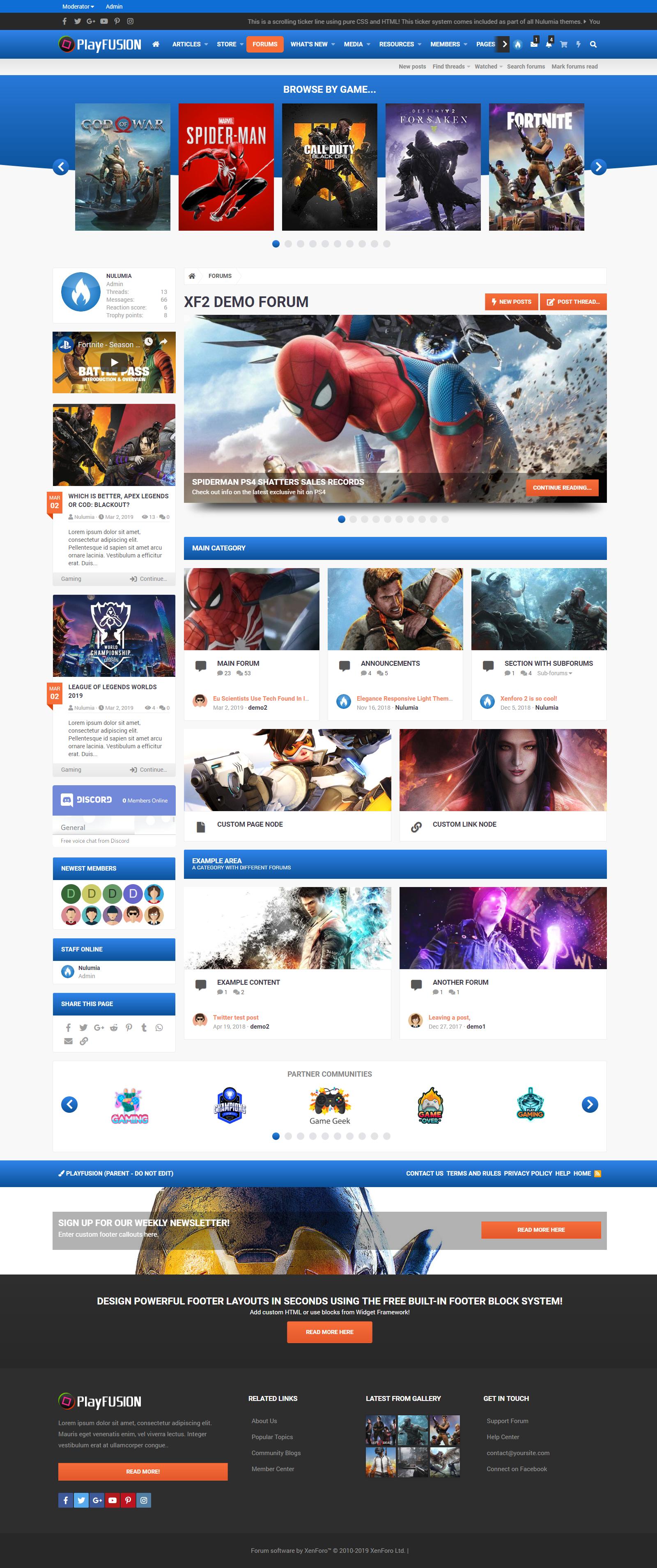 PlayFusion - Gaming Community Xenforo 2 Style | Xenforo Forum Gaming