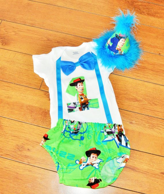 Toy Story cake smash outfit with party hat Woody by RYLOwear