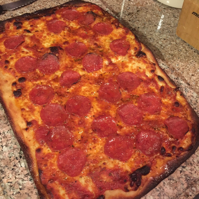 Square Homemade Pepperoni Pizza