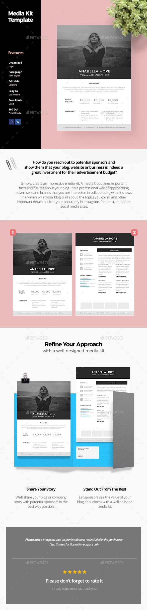 Media Kit Template | Media kit template, Media kit and Template