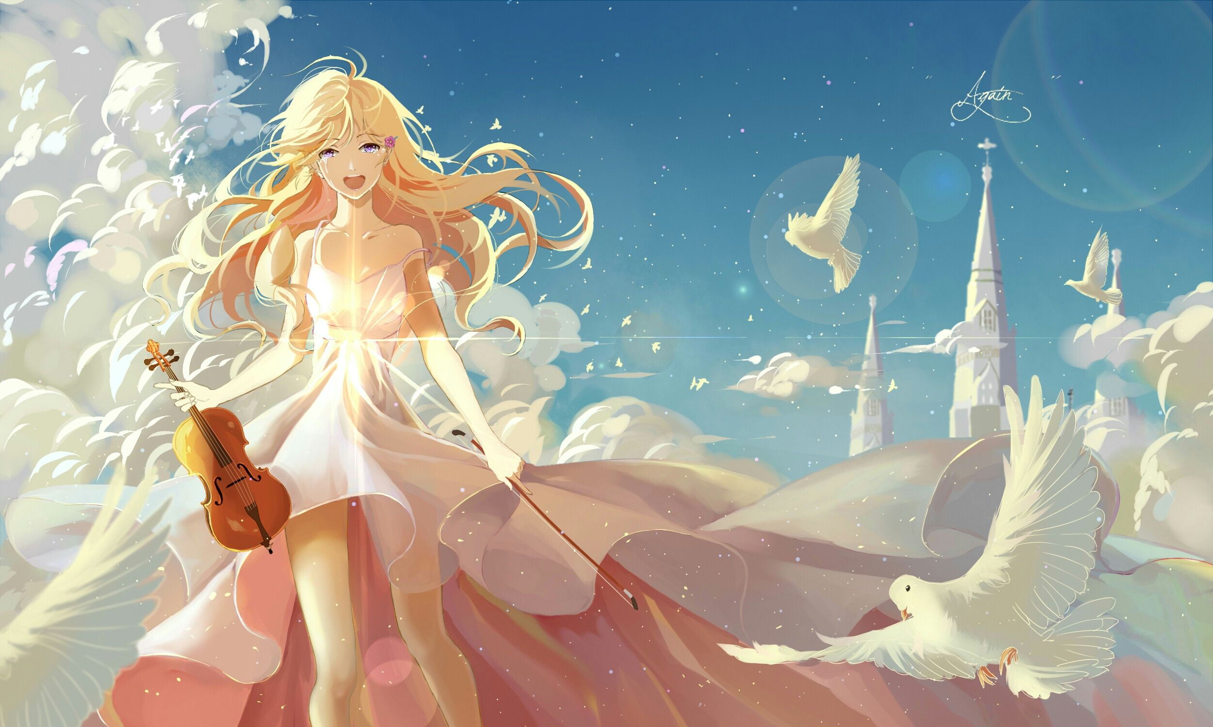 "Your Lie in April Kaori 36/"" x 24/"" Large Wall Poster Print Anime Manga"