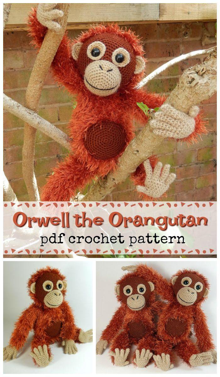Orwell the Orangutan crochet amigurumi monkey toy! What a fun stuffed toy to crochet for a child! I love the use of this fur yarn, too! So cute! #etsy #ad #stuffedanimalsplushtoys