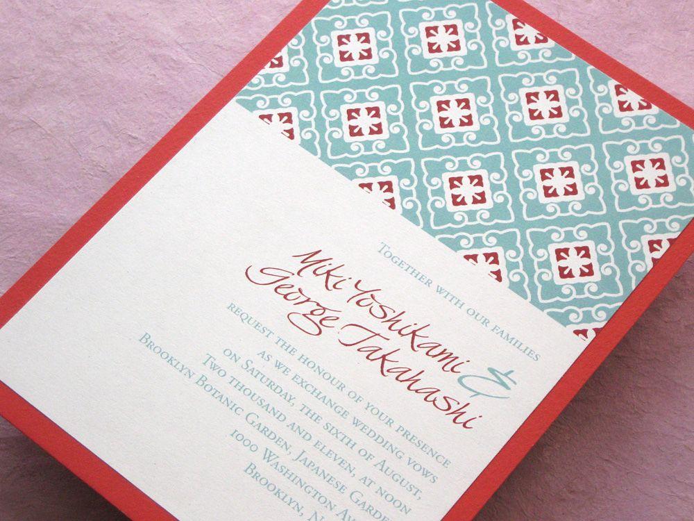 Asian Wedding Invitation Chinese Japanese | Imbue You Wedding ...