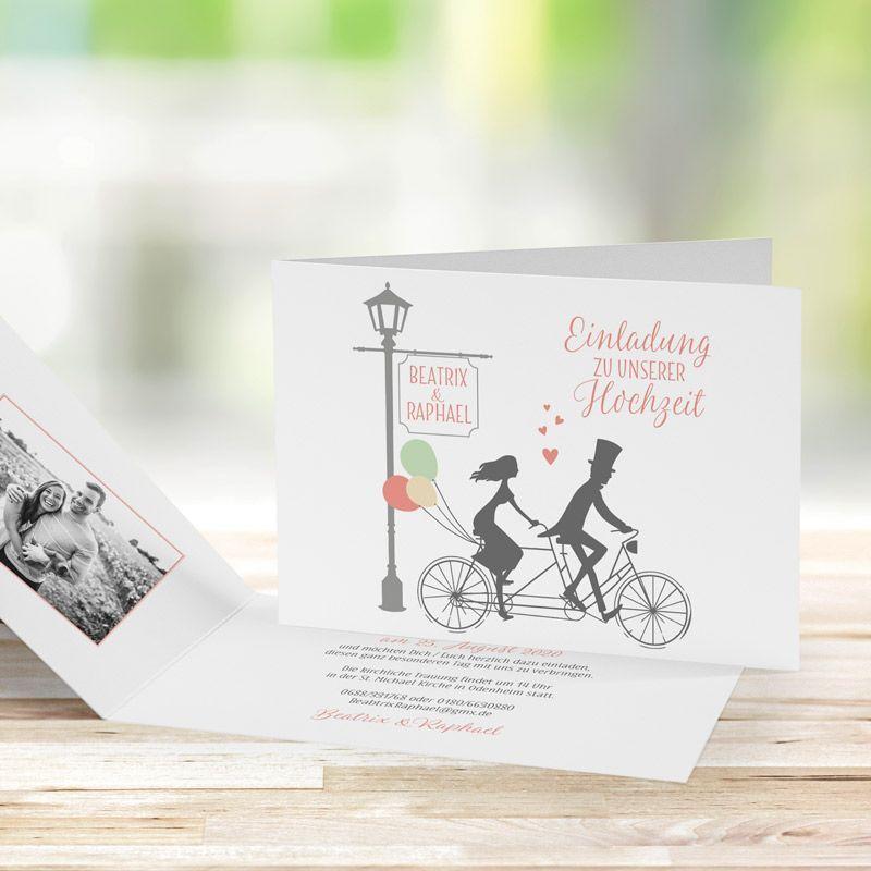 Einladungskarte Hochzeit Tandem mit Foto bestellen