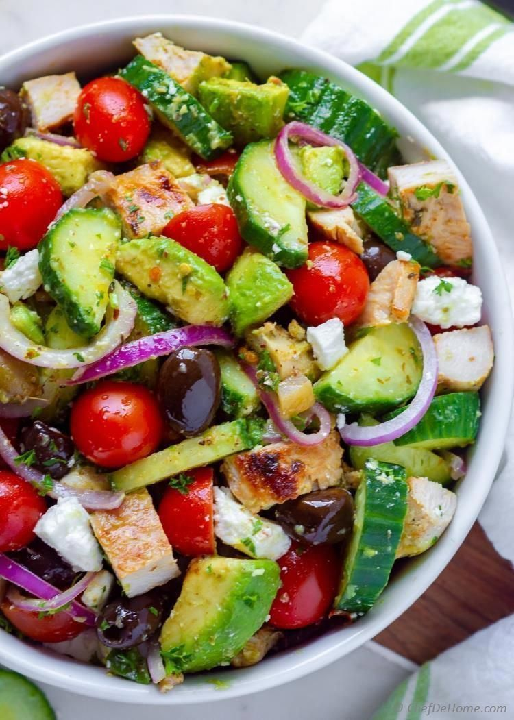 Chicken Avocado Salad An amazing Avocado Salad with flavorful Greek Chicken, sweet tomatoes, red onion, cucumber, olives, and feta. Loaded with  Mediterranean flavors and creamy avocado this salad is the perfect addition to your Dinner Menu. Gluten-free, carb-free