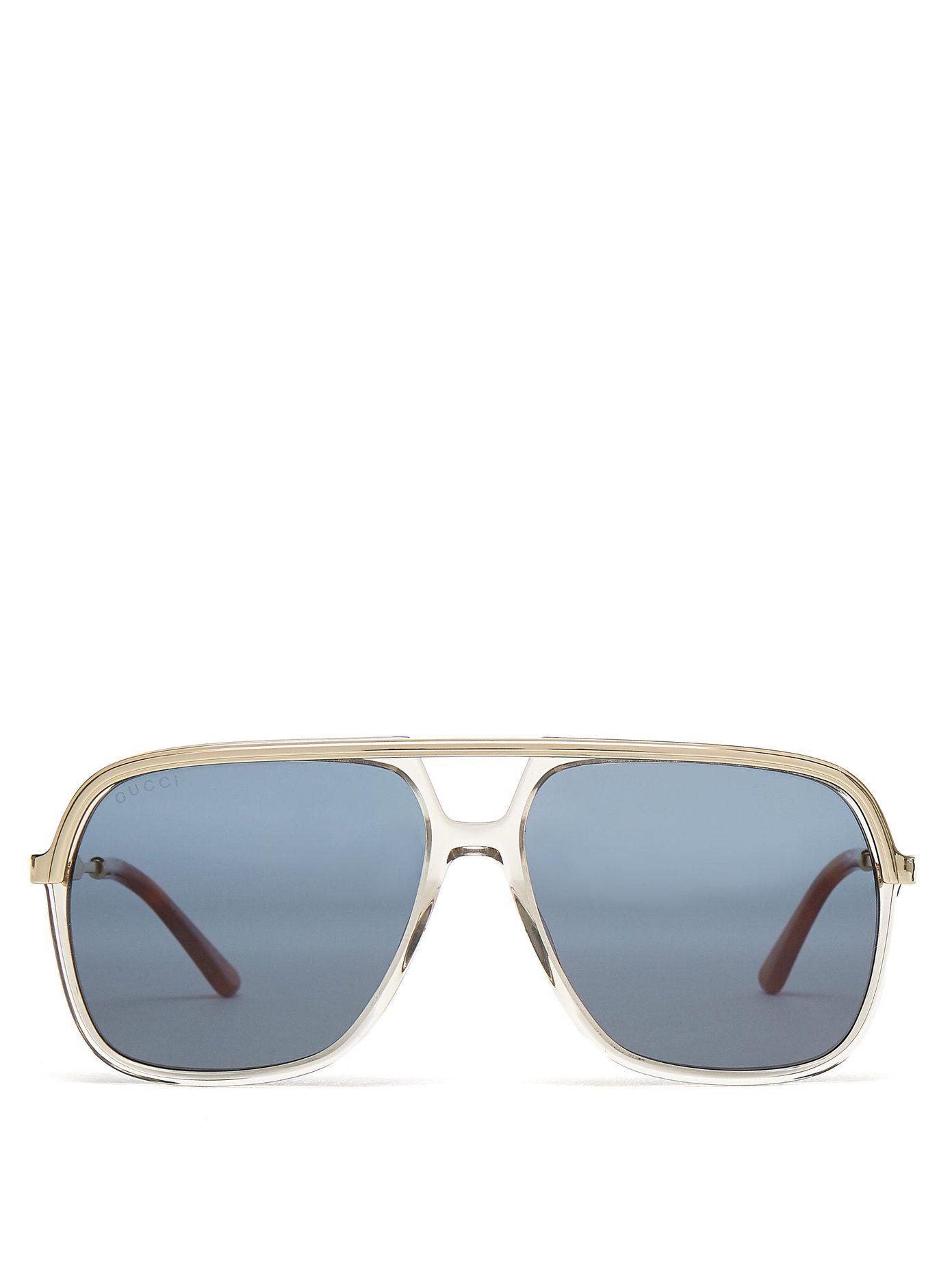 9eeef62351e Gucci Rectangular-frame acetate and metal sunglasses