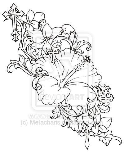 Flower Tattoos Hibiscus Flower Drawing Cross And Flower Tattoo - copy free coloring pages of hibiscus flowers