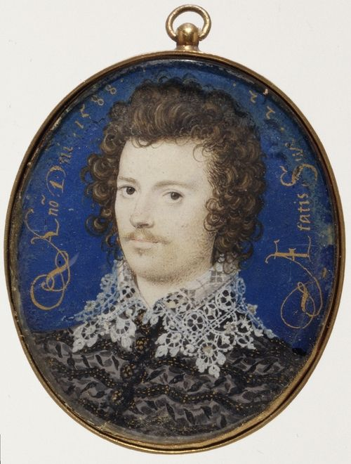 A portrait miniature of Robert Devereux, Earl of Essex by Hilliard. Essex was the stepson of Robert Dudley, Earl of Leicester. Though the two shared the same name, they could not have been more different.